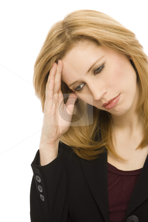 Businesswoman with headache stock photo, Businesswoman with headache holds her head by Rick Becker-Leckrone