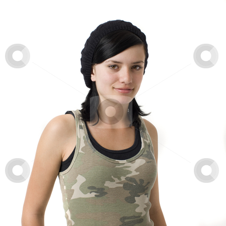 Girl in army shirt smile stock photo, A girl in army shirt smile by Rick Becker-Leckrone