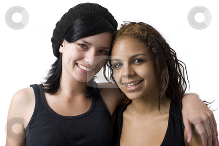 Happy girlfriends stock photo, Two girls hang out in a studio by Rick Becker-Leckrone