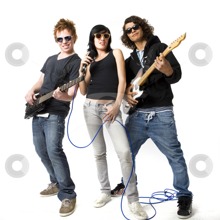Three bandmates rock out stock photo, Three bandmates sing and play guitar by Rick Becker-Leckrone