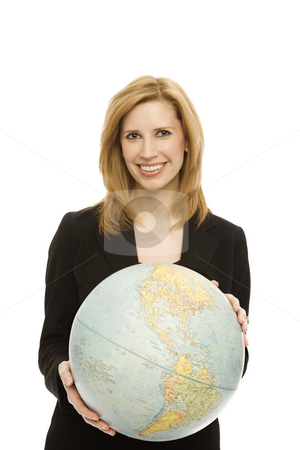 Businesswoman with globe stock photo, Businesswoman in a suit holds a large globe by Rick Becker-Leckrone