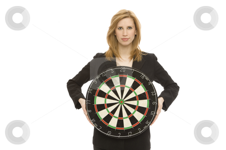 Businesswoman with dart board stock photo, Businesswoman in a suit hold a dart board by Rick Becker-Leckrone