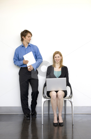 Workers talk stock photo, Two business people work together by Rick Becker-Leckrone