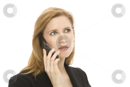 Businesswoman with cell phone stock photo,  by Rick Becker-Leckrone