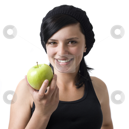 Girl with apple smiles stock photo, A girl with an apple smiles by Rick Becker-Leckrone