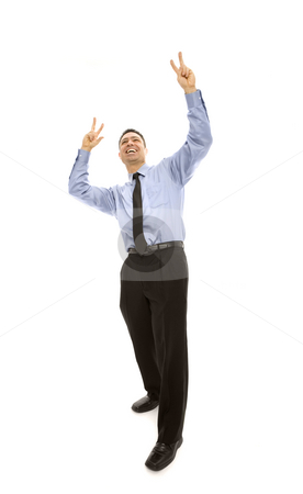 Excited businessman stock photo, Businessman gestures excitement with his arms by Rick Becker-Leckrone