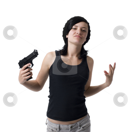Gangster girl with gun stock photo, A girl gestures like a gangster with a gun by Rick Becker-Leckrone