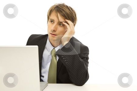 Businessman with laptop stock photo, Businessman uses a laptop with frustration by Rick Becker-Leckrone
