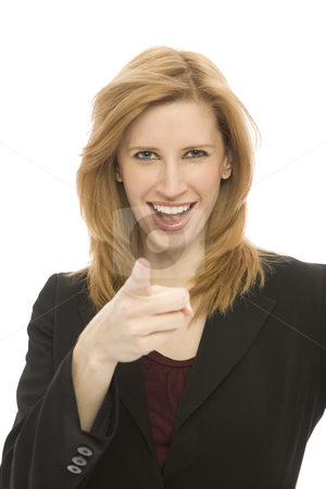 Businesswoman gestures stock photo, A businesswoman points her finger by Rick Becker-Leckrone