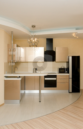 Modern kitchen interior stock photo,  by Andrey Butenko