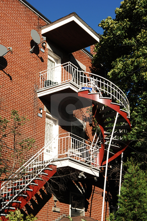 Outside stairwell. stock photo, An outside colorful stairwell on an three story apartment building in Montreal,  Canada. by Horst Petzold