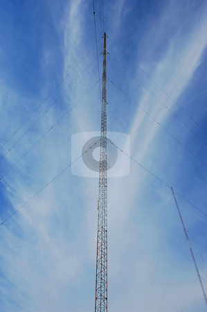 Radio tower. stock photo, Wide angel shot of a radio tower from below in the blue sky. by Horst Petzold