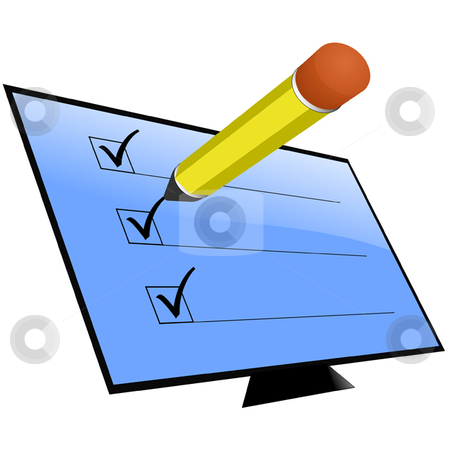 Survey stock vector clipart, Screen with check marks and pencil by Ira J Lyles Jr