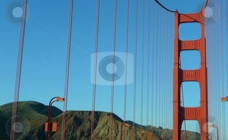 Close up of Golden Gate Bridge stock photo, Close-up view and perspective of the Golden Gate Bridge in San Fancisco by Jill Reid