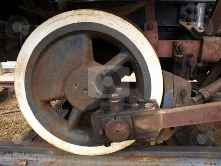 Close-up of antique train wheel stock photo, Close-up of vintage and antique rusted train wheel by Jill Reid