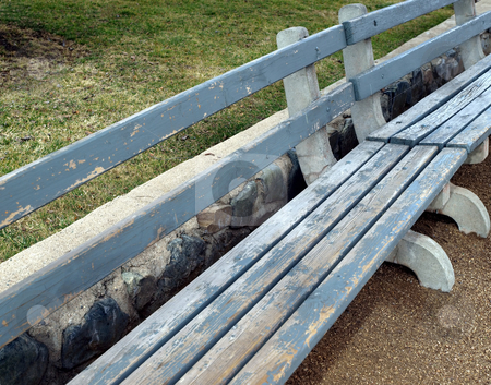 Weathered wooden bench stock photo, Wooden painted bench weathered by time by Jill Reid