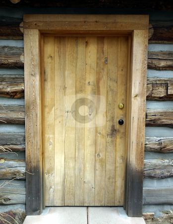Wooden door on log cabin stock photo, Authentic vintage wooden door on original log cabin by Jill Reid