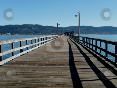 Wooden pier in Crescent City, California stock photo, Wooden pier in Crescent City, California by Jill Reid