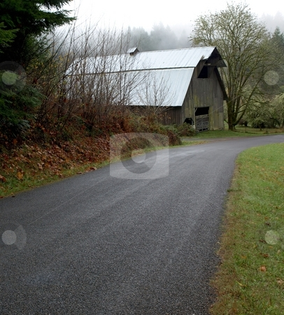 Barn on country road stock photo, Old barn in rural setting on back country road by Jill Reid