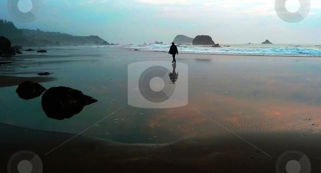 Adult man strolling on beach with dramatic sky stock photo, A adult man strolls along a sandy beach, with the sunset reflected on the shore by Jill Reid