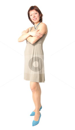 Full-legth shot of elegant young woman stock photo, Isolated full-length shot of a beautiful caucasian woman with elegant dress by Natalia Macheda