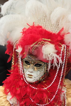 Venetian mask stock photo, Portrait of a beautifully decorated venetian mask by Natalia Macheda