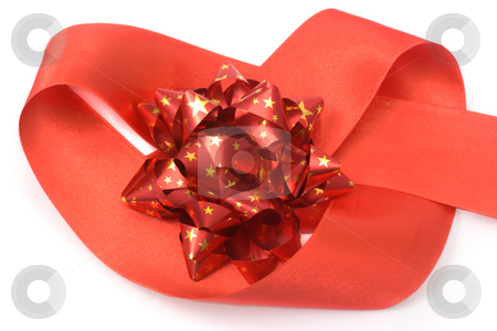 Red bow in heart stock photo, Red bow in a heart of red ribbon isolated on white by Natalia Macheda