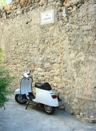 Vespa in via Leopardi stock photo, Vespa in via Leopardi near ancient rustic wall by Natalia Macheda