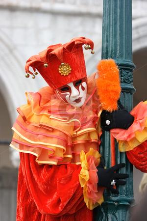 Carnevale di Venezia stock photo, Venetian mask and costume of red joker by Natalia Macheda