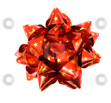 Red bow stock photo, Red bow with golden stars isolated on white by Natalia Macheda