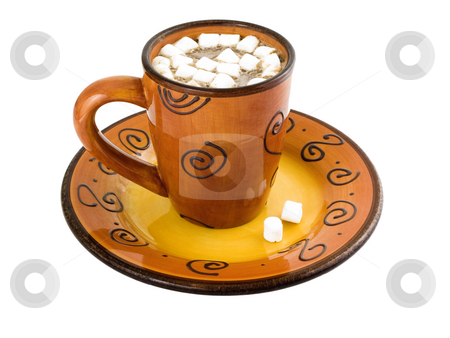 Hot Chocolate with marshmellows stock photo, Hot chocolate with marshmellows on a white background by John Teeter