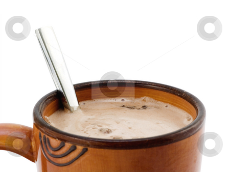 Spoon in Hot Chocolate stock photo, Spoon in Hot Chocolate on a white background by John Teeter