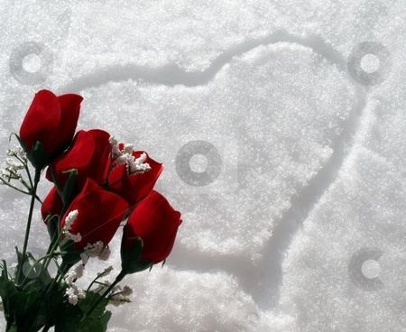 Snow heart with red rose bouquet stock photo, A heart drawn in the snow with red rose bouquet by Jill Reid