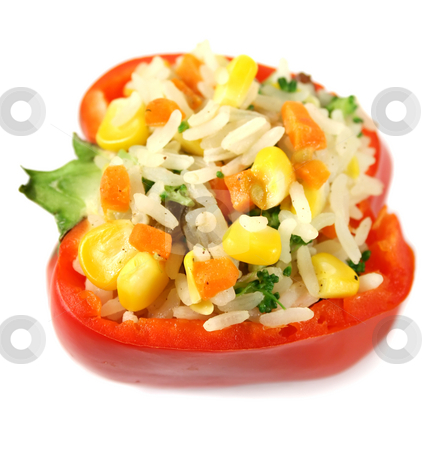 Stuffed Pepper stock photo, Delicious stuffed rice pepper ready to serve. by Brett Mulcahy