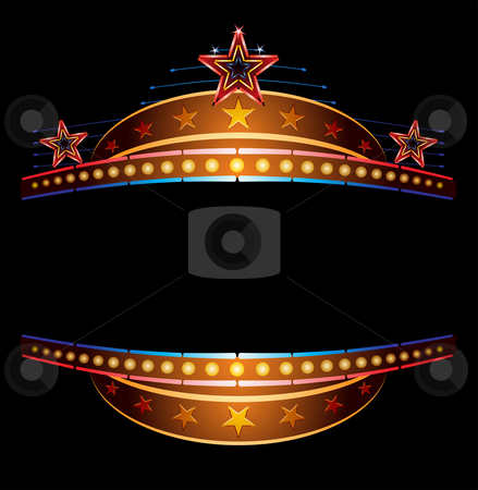 Neon with stars stock vector clipart, Stars at classic theatre marquee neon template by Oxygen64