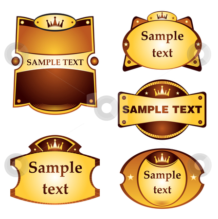 Gold labels set stock vector clipart, Set of gold labels isolated on white by Oxygen64