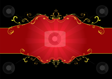 Red floral label stock vector clipart, Elegance gold and red floral label isolated on black by Oxygen64