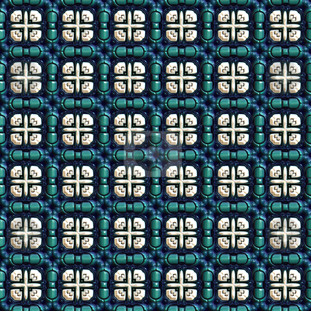 Artificial window pattern stock photo, Seamless 3d texture of blue green squares filled with white ornaments by Wino Evertz