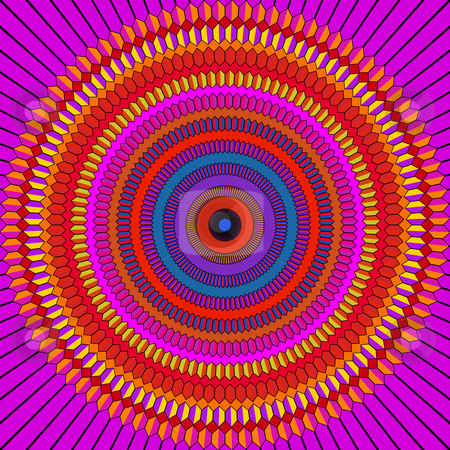 Vibrant mandala pattern stock photo, Texture of tiled madala shape in red and purple by Wino Evertz