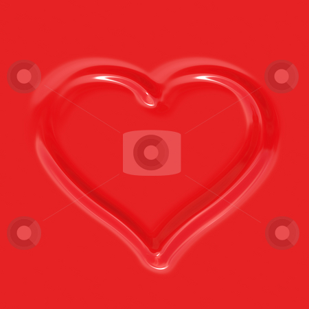 Red imprinted heart stock photo, Imprinted heart shape in red artificial plastic background by Wino Evertz