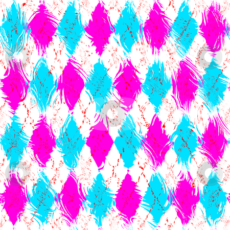 Grunge checkered pattern stock photo, Seamless texture of grunge wavy blue and pink shapes by Wino Evertz