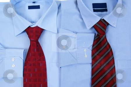 Dress shirt stock photo, Blue dress shirt with tie made as background by Jolanta Dabrowska