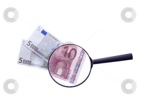 Notes stock photo, Notes seen through augmentative glass isolated on white background by Jolanta Dabrowska
