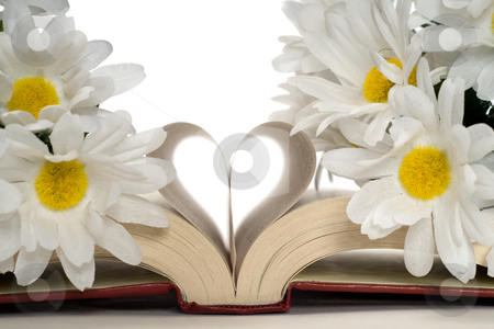 Romance Novel stock photo, Closeup view of a romance novel with artificial flowers around the heart shaped pages by Richard Nelson