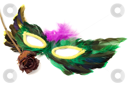 Masquerade Mask stock photo, A feathered masquerade mask with a dried red rose, isolated against a white background by Richard Nelson
