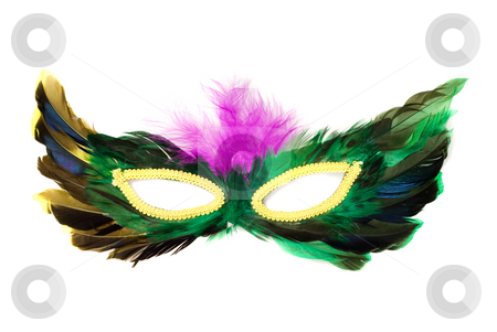 Isolated Feather Mask stock photo, A feathered masquerade mask, isolated against a white background by Richard Nelson