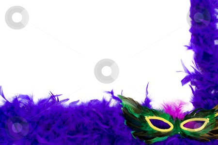 Blue Feather Frame stock photo, A blue feather frame with a masquerade mask, isolated against a white background by Richard Nelson