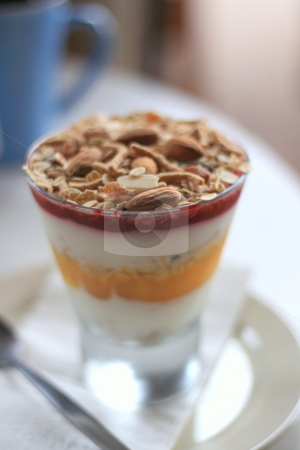 Breakfast Parfait stock photo, Very shallow DOF shot of layered parfait. by Luke Fabish