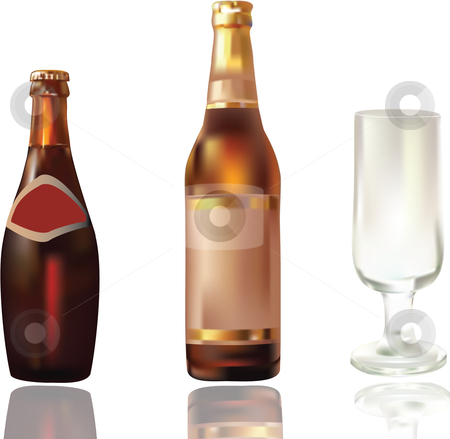 Whiteisolated beer bottles and glass stock vector clipart,  by Adelina Green