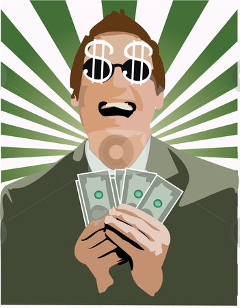 A happy men with money stock vector clipart,  by Adelina Green